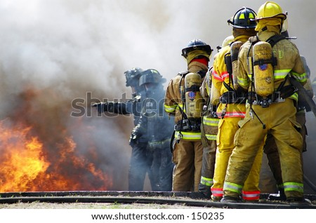 Fighting large fire - stock photo
