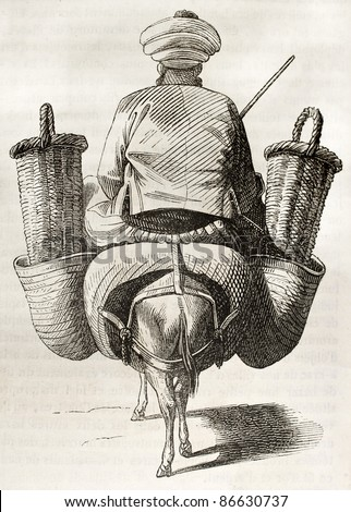 Figs seller old illustration. By unidentified author, published on Magasin Pittoresque, Paris, 1843 - stock photo