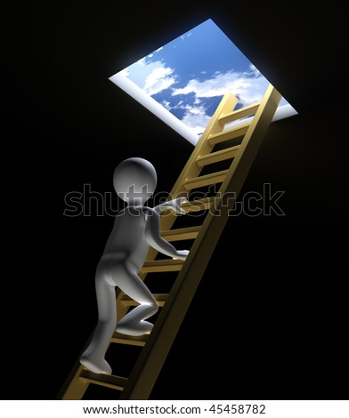 Figure Climbing Ladder to Window out to Sky - stock photo