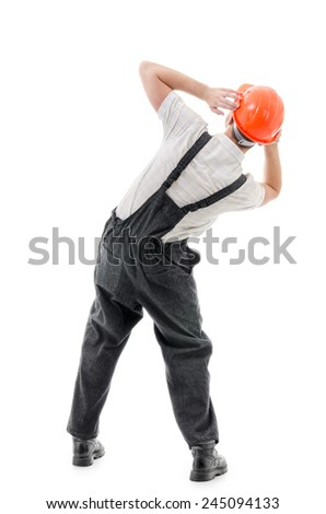 Figure confident worker on white background - stock photo