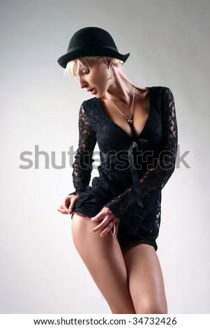 figure of beauty disco  woman - stock photo