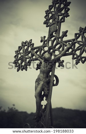 Figure of Christ on the Cross at the Crucifixion - stock photo