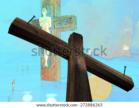 Figure of Crucifixion made in 3d software  end hand painted in photoshop - stock photo