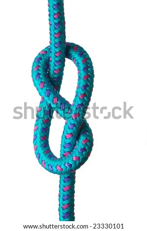 Figure of eight knot on a blue rope with pink and purple highlights, isolated on a white background - stock photo