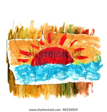 Figure sea and sun with brush strokes - stock photo