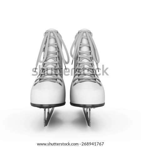 Figure skates front view isolate on white background. 3d illustration. - stock photo