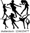 Figure skating silhouettes. Raster version. - stock photo