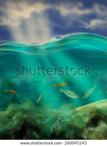 Figure sky above water and underwater world, you can see the refraction of sunlight. Digital sketch. - stock photo