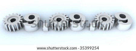 Figures of especial and unique date - September, 9th, 2009 - where zero are replaced with gears - stock photo