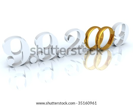 Figures of especial and unique date where zero are replaced with wedding rings - stock photo