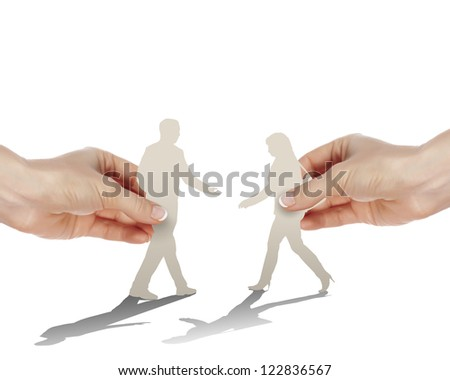 Figures of man and woman going to meet each other - stock photo