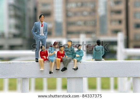 figurine/ fake miniature people lifestyle - stock photo