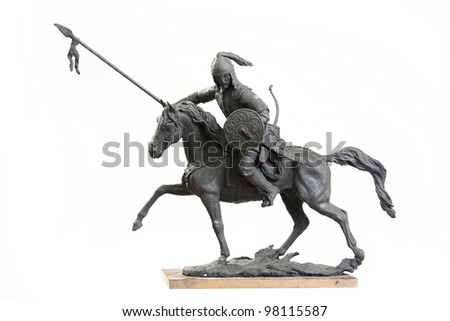 Figurine  horseman. Plasticine. On a white background - stock photo
