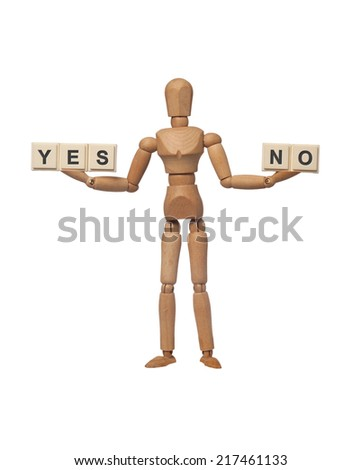 Figurine presenting choice of yes or no isolated on white background  - stock photo
