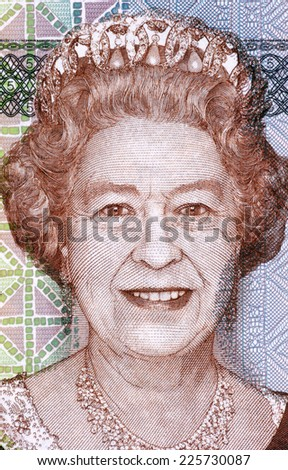 FIJI - CIRCA 2011: Elizabeth II (born 1926) on 5 Dollars 2011 Banknote from Fiji. Queen of the United Kingdom. - stock photo