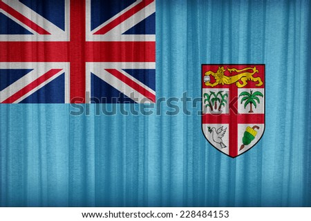 Fiji flag pattern on the fabric curtain,vintage style - stock photo