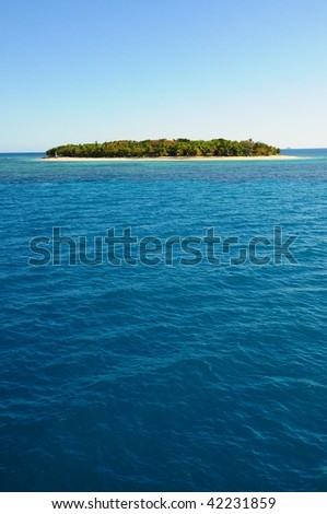 Fiji small island in the middle of the ocean - stock photo