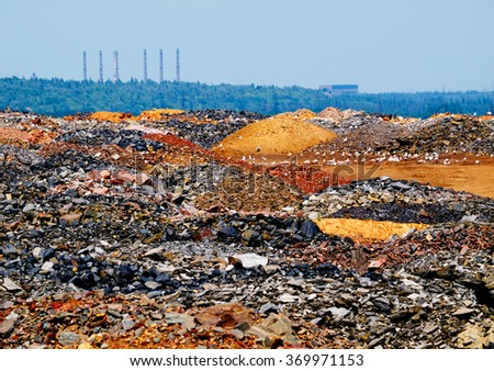 Fild of dump of depleted ore - stock photo