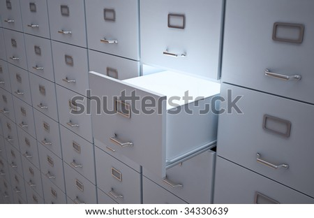 File cabinet with an open drawer - stock photo
