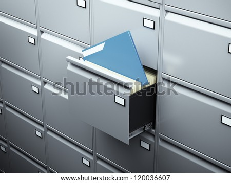 File cabinet with blue document - stock photo