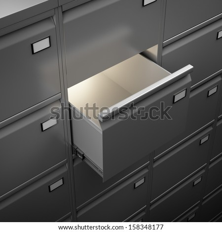 File cabinet with light - stock photo