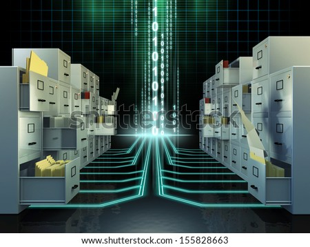 File cabinets in a digital space. Digital illustration. - stock photo