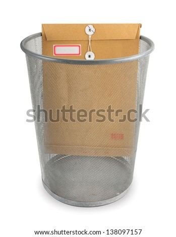 File envelope thrown into the garbage basket  - stock photo