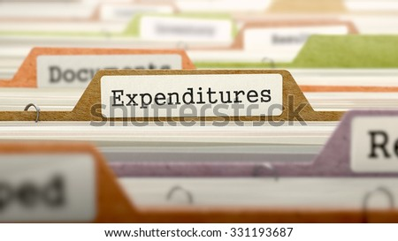 File Folder Labeled as Expenditures in Multicolor Archive. Closeup View. Blurred Image. - stock photo