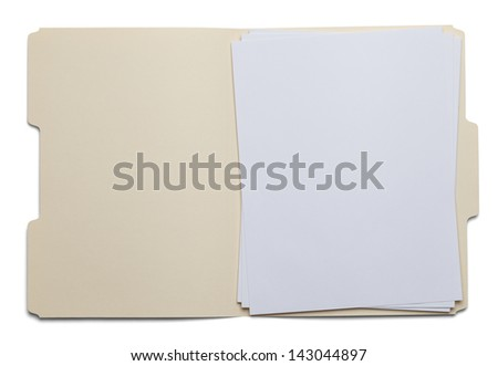 File Folder with Blank White Paper Isolated on White Background. - stock photo