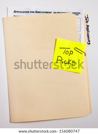 file folders for job applicant top picks - stock photo