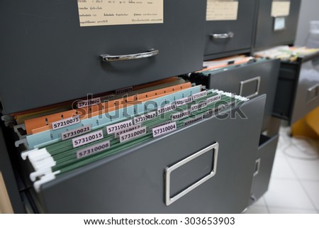 File folders in a filing cabinet,For document storage - stock photo