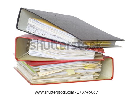 file folders, isolated on white background - stock photo