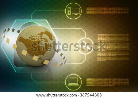 File folders network - stock photo