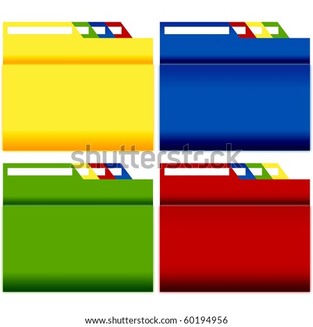 File Folders with label 4 sets - stock photo