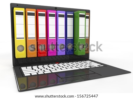 file in database - laptop with colored ring binders, 3d image - stock photo