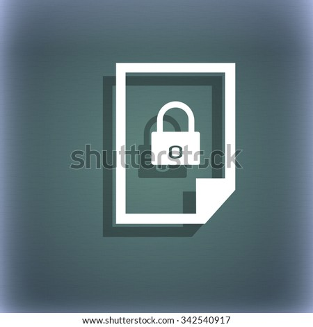 File locked icon sign. On the blue-green abstract background with shadow and space for your text. illustration - stock photo