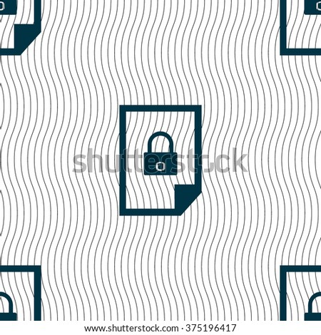 File locked icon sign. Seamless pattern with geometric texture. illustration - stock photo