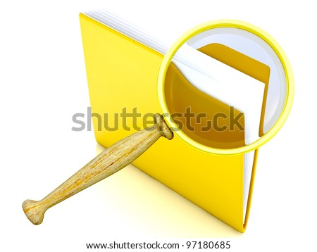 File search concept: folder and magnifying glass - stock photo