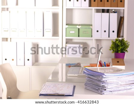 File Stack, file folder with white background - stock photo