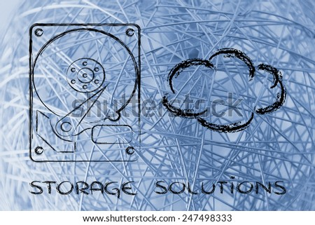 file storage solutions: hard disks or cloud storage - stock photo