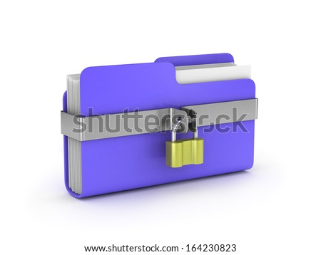 File top secret and lock (done in 3d) - stock photo