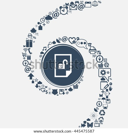 File unlocked icon sign in the center. Around the many beautiful symbols twisted in a spiral. You can use each separately for your design. illustration - stock photo