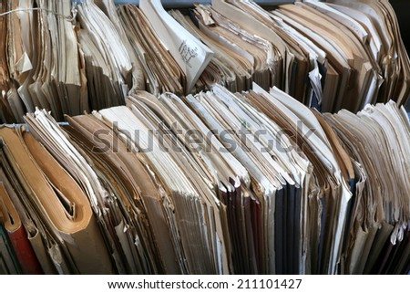 files in a messy old-fashioned archive - stock photo