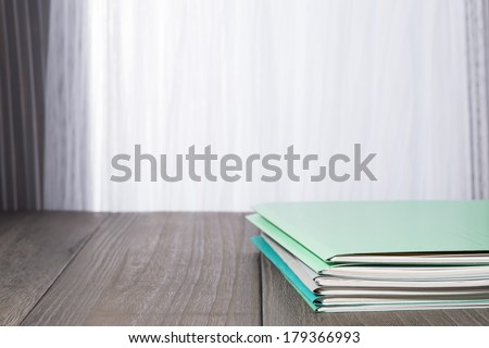 files on desk. - stock photo
