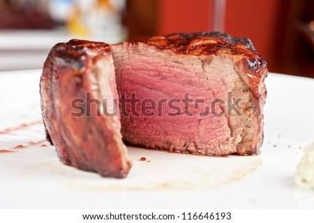 Filet mignon, char-grilled to medium rare - stock photo