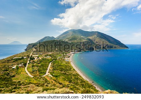 Filicudi and Salina on backgrouns, Aeolian Islands, Sicily, Italy. - stock photo