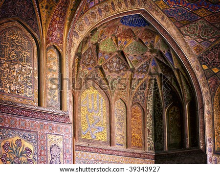 Filigree interior wall of ancient Wazir Khan Mosque, Lahore, Pakistan - stock photo