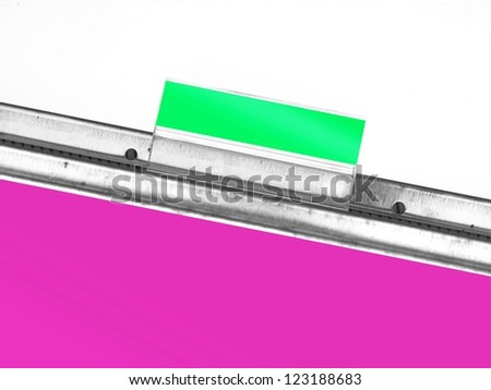 Filing cabinet folder tags isolated against a white background - stock photo