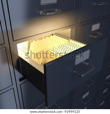 Filing cabinet for mail, letters, documents. 3d render - stock photo