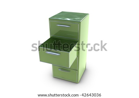 Filing cabinet with opened drawer - stock photo